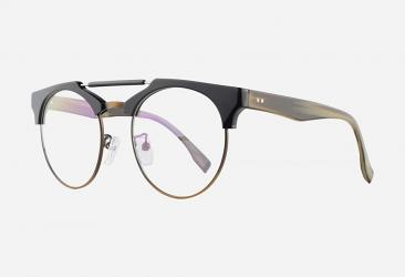 Round Eyeglasses 114BLACKBRONZE